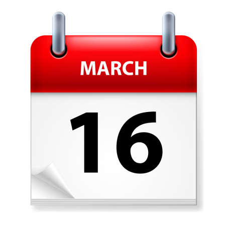 sixteenth: Sixteenth March in Calendar icon on white background