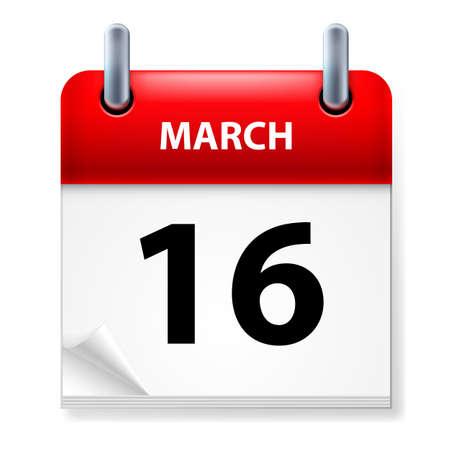 meses del año: XVI de marzo en el icono Calendario en el fondo blanco