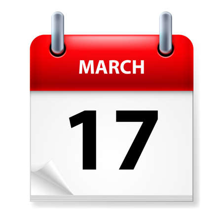 Seventeenth March in Calendar icon on white background Vector