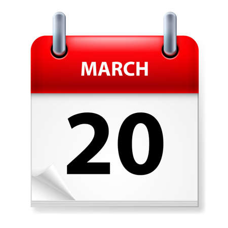 twentieth: Twentieth March in Calendar icon on white background