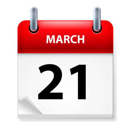 Twenty-first March in Calendar icon on white background Stock Vector - 14495297