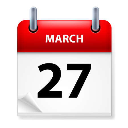 Twenty-seventh March in Calendar icon on white background Stock Vector - 14495295