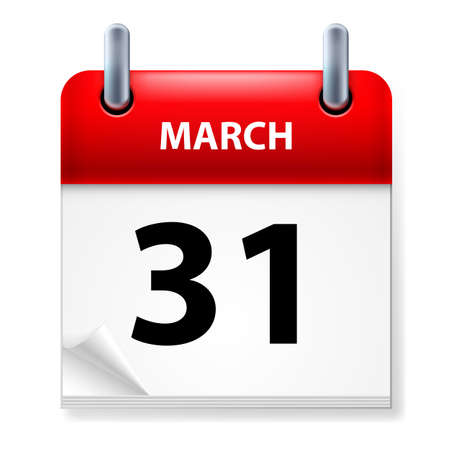 Thirty-first March in Calendar icon on white background Stock Vector - 14495459