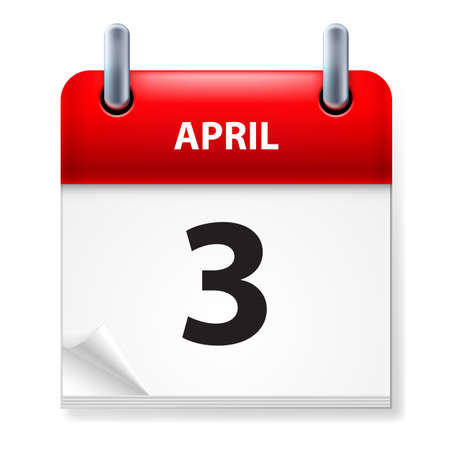 Troisième en Avril Calendrier icône sur fond blanc Vecteurs