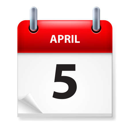 fifth: Fifth in April Calendar icon on white background Illustration