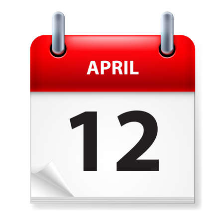 Twelfth in April Calendar icon on white background Stock Vector - 14495504