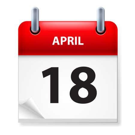 eighteenth: Eighteenth in April Calendar icon on white background Illustration