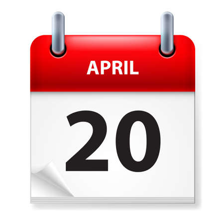 twentieth: Twentieth in April Calendar icon on white background