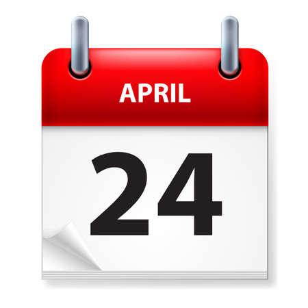 Twenty-fourth in April Calendar icon on white background Stock Vector - 14495505