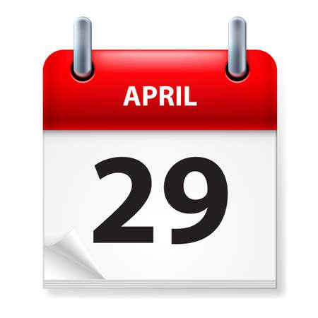 Twenty-ninth in April Calendar icon on white background Stock Vector - 14495520