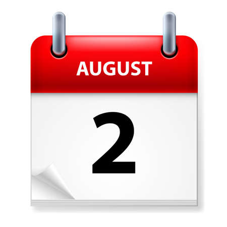 aug: Second in August Calendar icon on white background Illustration