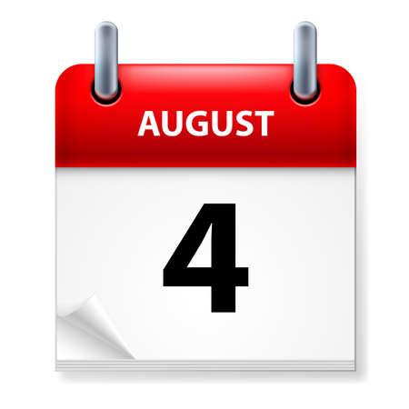 august calendar: En cuarto lugar, en agosto el icono Calendario en el fondo blanco