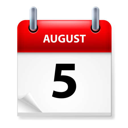 aug: Fifth in August Calendar icon on white background