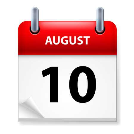 august calendar: D�cimo en agosto el icono Calendario en el fondo blanco Vectores