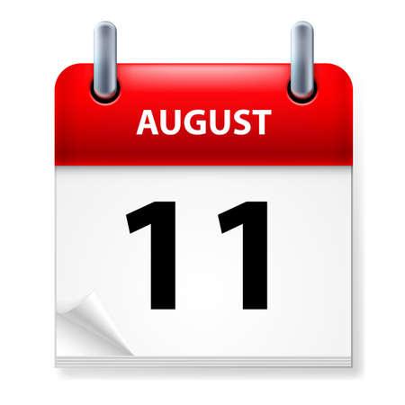 august calendar: Und�cimo en agosto de Calendario icono en el fondo blanco Vectores