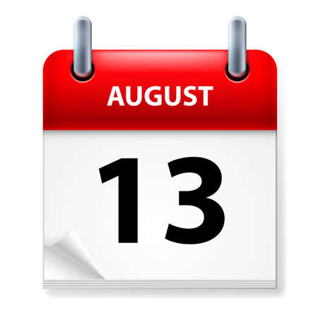 aug: Thirteenth in August Calendar icon on white background