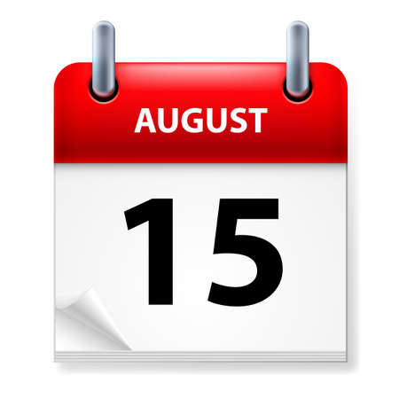 meeting agenda: Fifteenth of August Calendar icon on white background