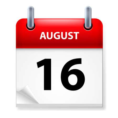Sedicesima nel mese di agosto Icona del calendario su sfondo bianco Vettoriali