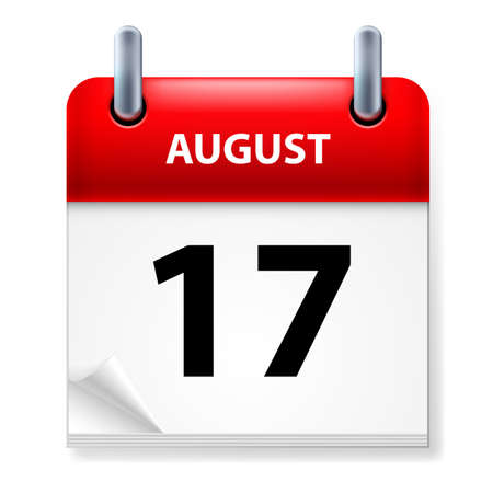 aug: Seventeenth in August Calendar icon on white background