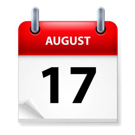 august calendar: XVII en agosto de Calendario icono en el fondo blanco