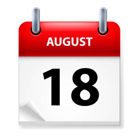 august calendar: XVIII en agosto icono Calendario en el fondo blanco