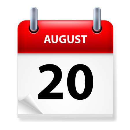 twentieth: Twentieth in August Calendar icon on white background