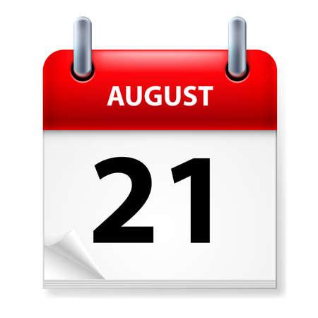 august calendar: XXI, en agosto el icono Calendario en el fondo blanco
