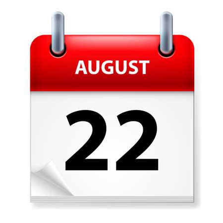 august calendar: Vig�simo segundo en agosto icono Calendario en el fondo blanco Vectores