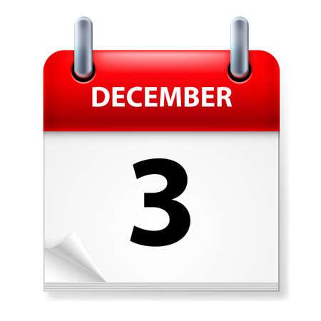 december calendar: In terzo luogo nel mese di dicembre Calendario icona su sfondo bianco