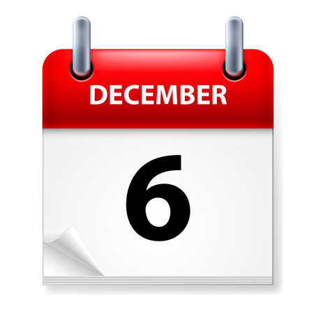 sixth: Sixth in December Calendar icon on white background Illustration