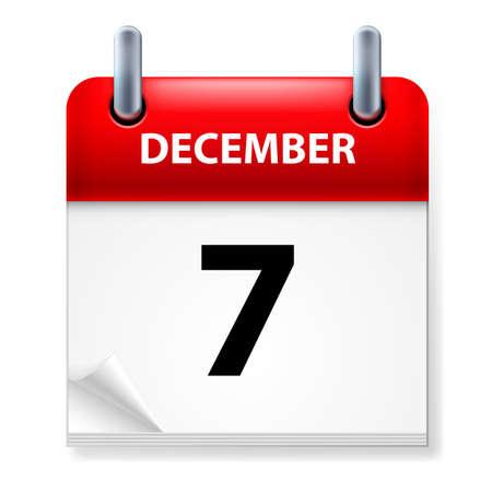 calendario diciembre: Séptimo, en diciembre de Calendario icono en el fondo blanco