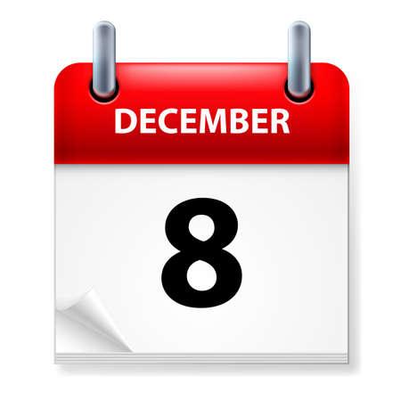 calendario diciembre: Octavo en diciembre de Calendario icono en el fondo blanco Vectores