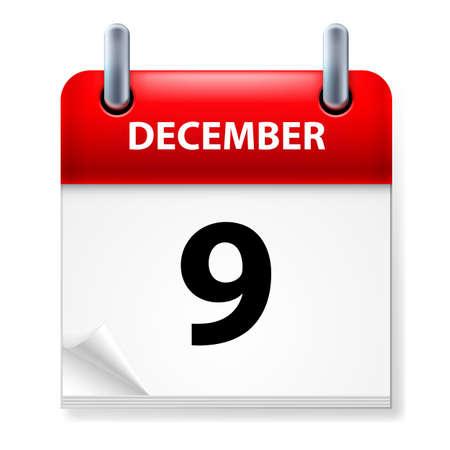 calendario diciembre: Novena en diciembre del calendario icono en el fondo blanco Vectores