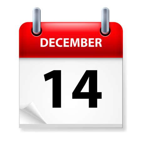 fourteenth: Fourteenth in December Calendar icon on white background