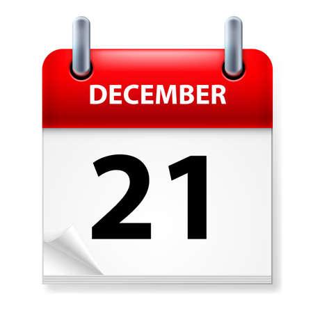 calendario diciembre: XXI en diciembre de Calendario icono en el fondo blanco