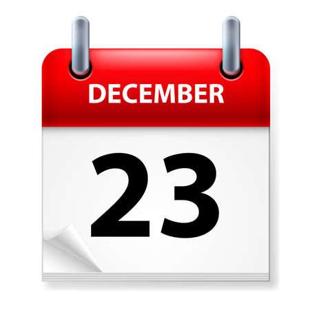 december calendar: Ventitreesima nel mese di dicembre Calendario icona su sfondo bianco