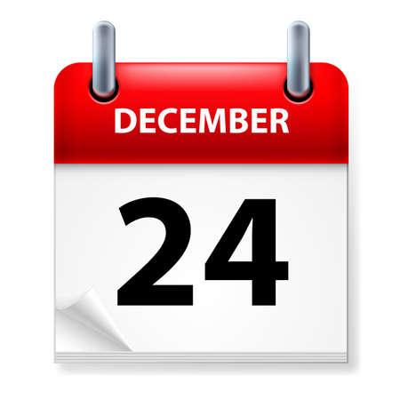 calendario diciembre: Vigésimo cuarto en diciembre de Calendario icono en el fondo blanco