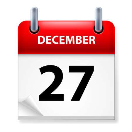 Twenty-seventh in December Calendar icon on white background Stock Vector - 14495527