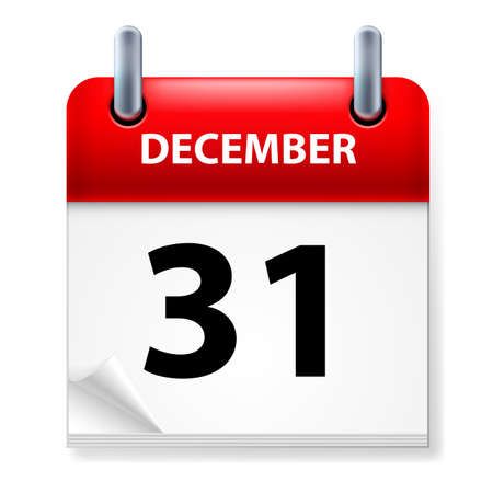 last day: Thirty-first December in Calendar icon on white background