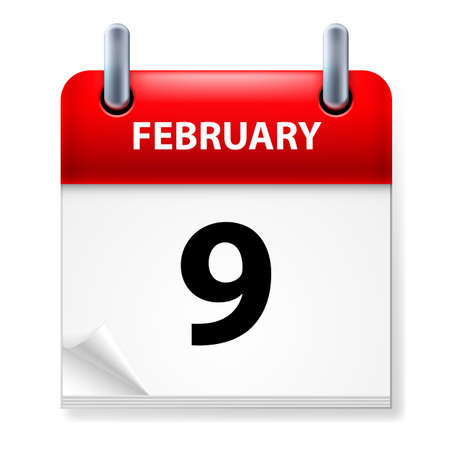 ninth: Ninth February in Calendar icon on white background Illustration
