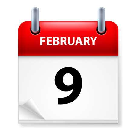 ninth: Ninth February in Calendar icon on white background Illustration