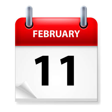 eleventh: Eleventh February in Calendar icon on white background Illustration
