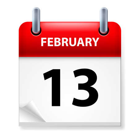 Thirteenth February in Calendar icon on white background Vector