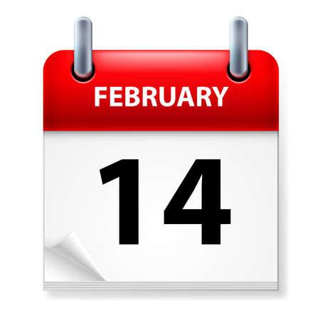 fourteenth: Fourteenth February in Calendar icon on white background Illustration