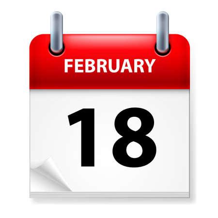 eighteenth: Eighteenth February in Calendar icon on white background