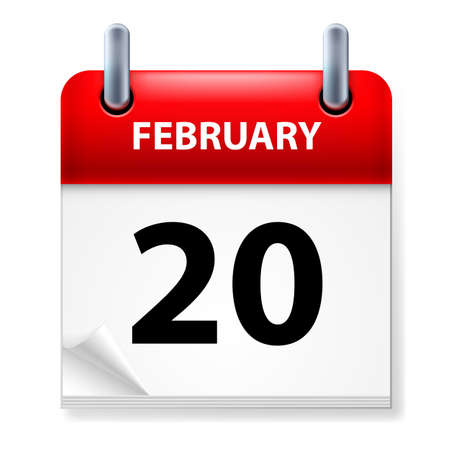 twentieth: Twentieth February in Calendar icon on white background