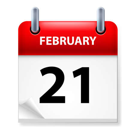 Twenty-first February in Calendar icon on white background Stock Vector - 14495478