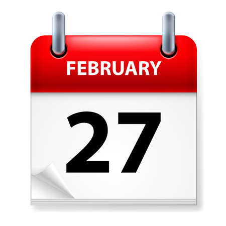 Twenty-seventh February in Calendar icon on white background Stock Vector - 14495493