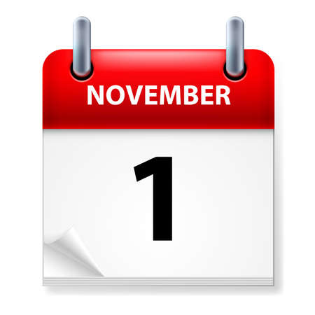 november calendar: First  in November Calendar icon on white background Illustration