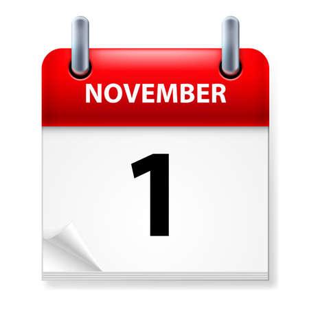 Première fois en Novembre Calendrier icône sur fond blanc Vecteurs